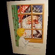 Vintage Christmas Postcard with Santa