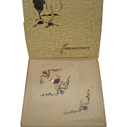 Vintage Handkerchiefs in Original Box Swiss Embroidery