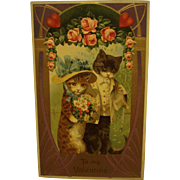 Victorian Valentine Postcard with Cats