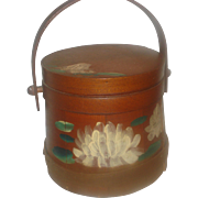 Early Decorated Wooden Firkin Bucket