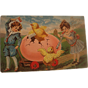 Vintage Easter Post Card with Chicks & Chickens
