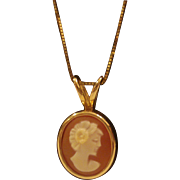 14 K Gold Cameo Necklace - Free Shipping
