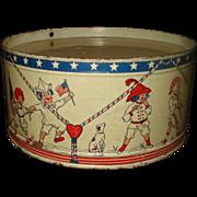 Vintage Child's Tin Litho Drum Patriotic