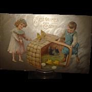 Easter Postcard Children & Chickens