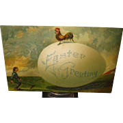 Easter Postcard with Rooster & Egg
