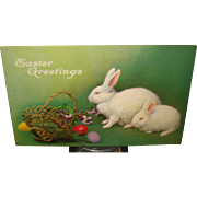 Easter Postcard with Rabbits & Eggs