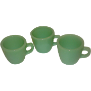 Three Fire King Jadite Restaurant Mugs C-Handle