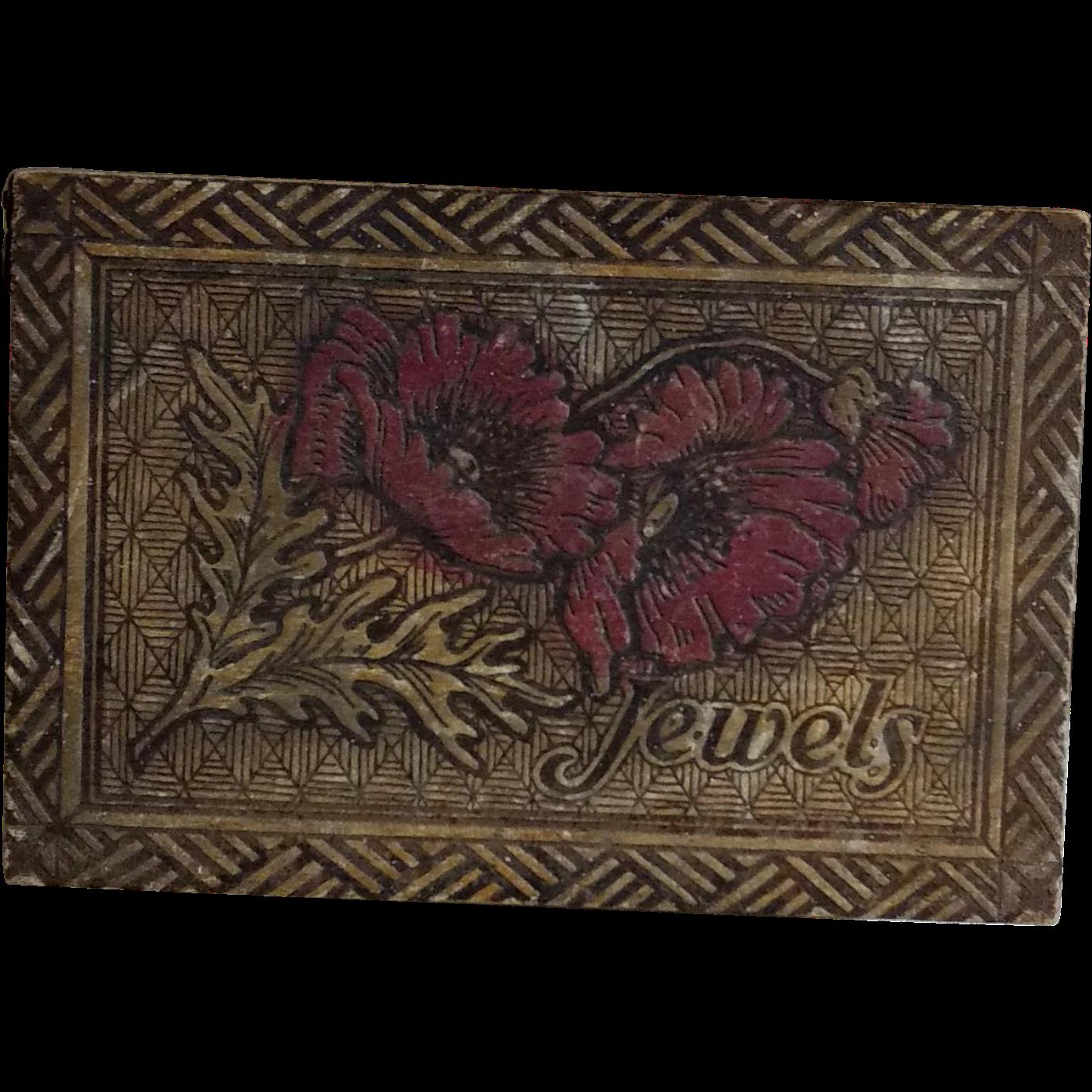 Flemish Art Pyrography Jewelry Box