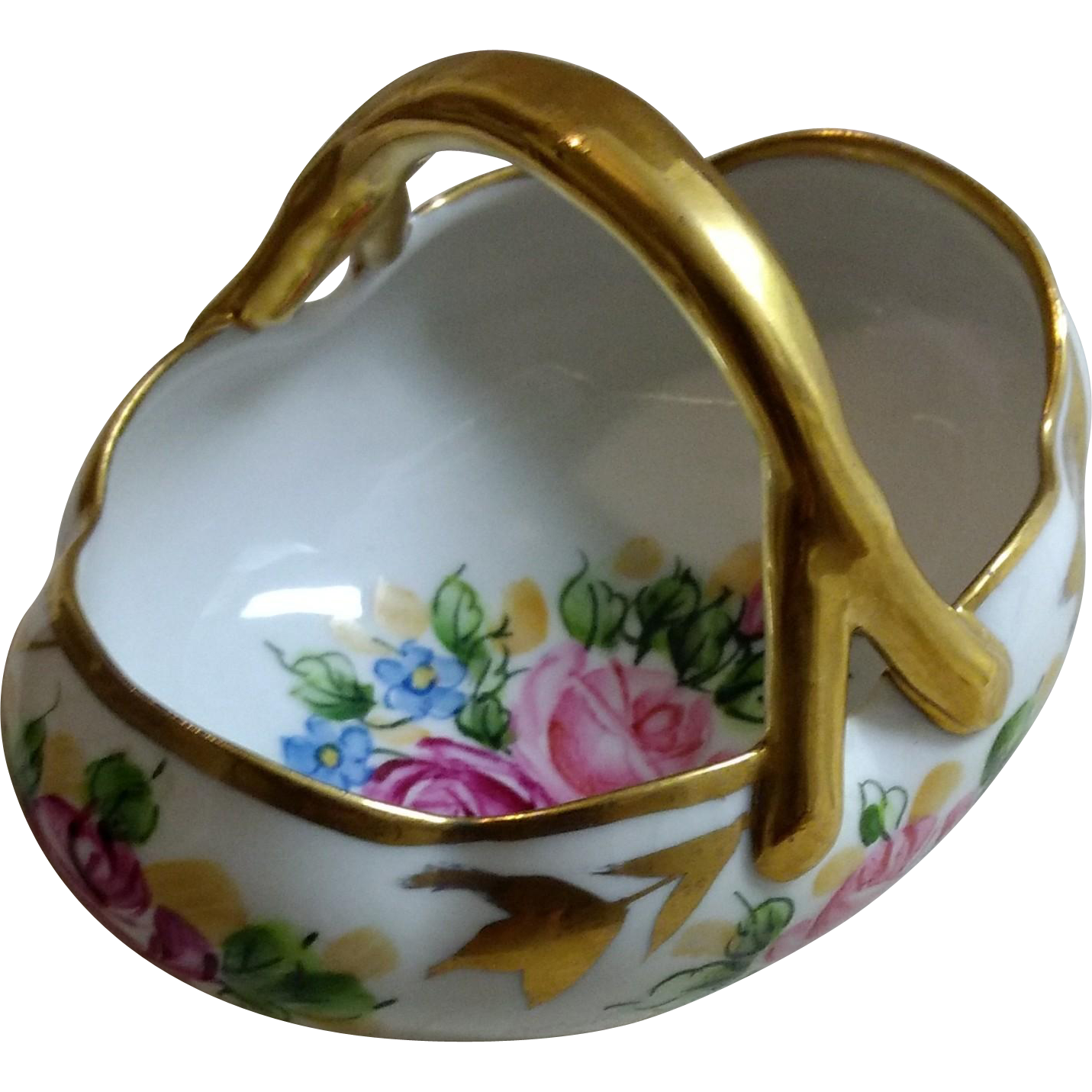 Signed Limoges Porcelain Basket