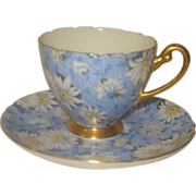 Shelley Blue Daisy Chintz Cup & Saucer