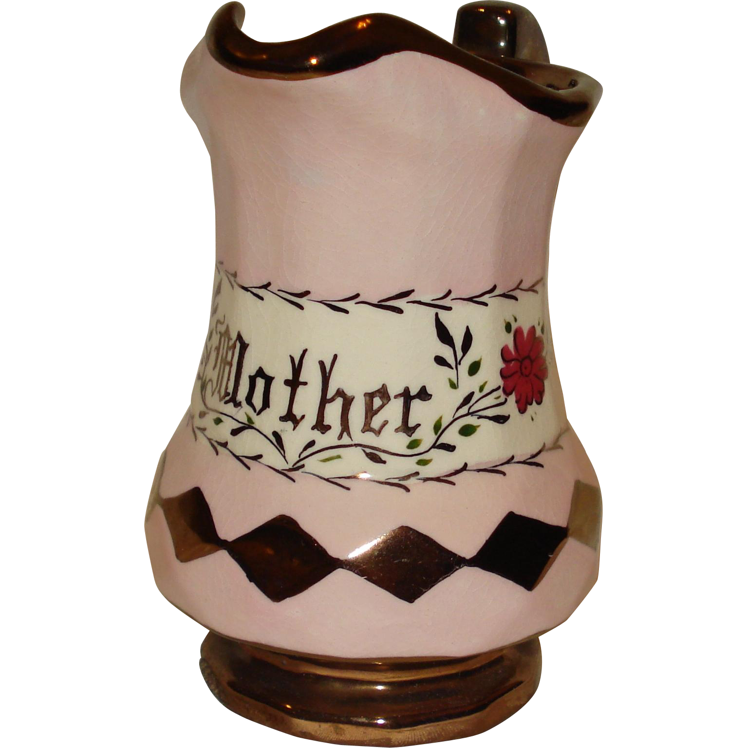 """Copper Luster """"Mother"""" Pitcher"""