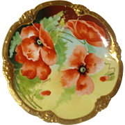 Limoges Porcelain Poppy Plate~Signed by Artist
