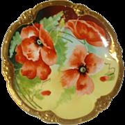 Limoges Porcelain Poppy Plate~Signed by Artist