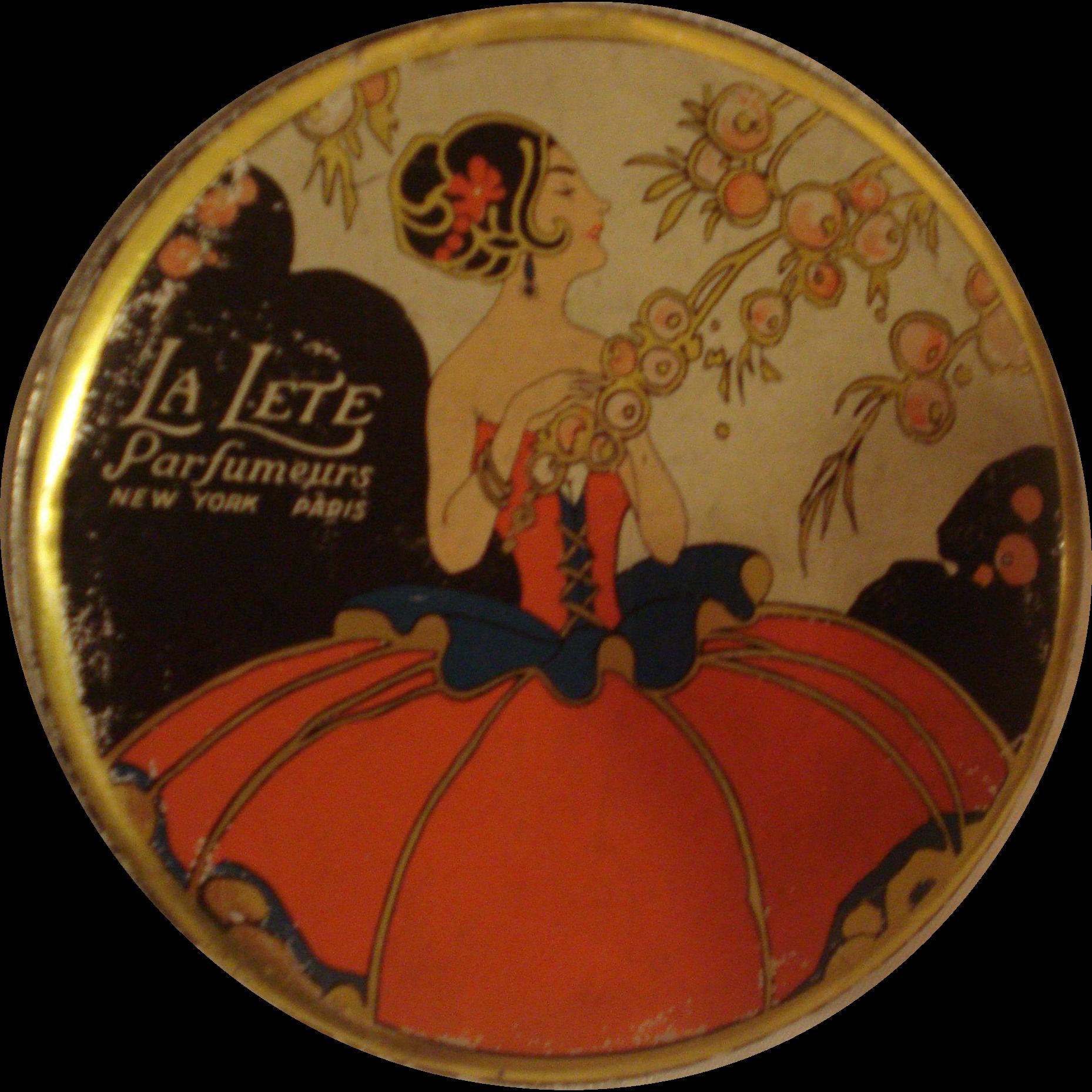 Vintage Powder Tin La Lete
