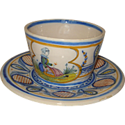 Quimper Pottery Cup & Saucer - Red Tag Sale Item