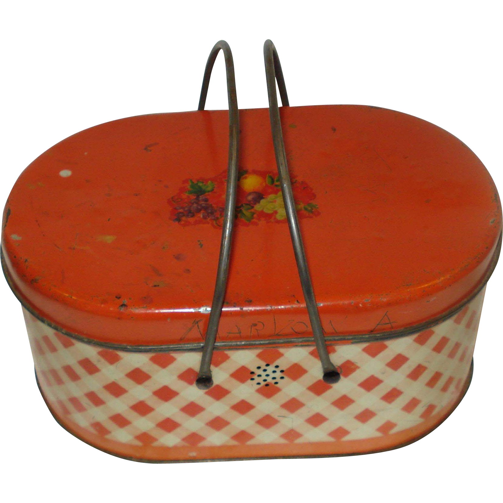 Vintage Metal  Lunch Pail Red & White Check