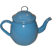 Child's Small Baby Blue Granite ware Tea Pot