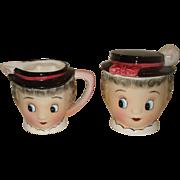 Py Porcelain Gay 90s Sugar & Creamer