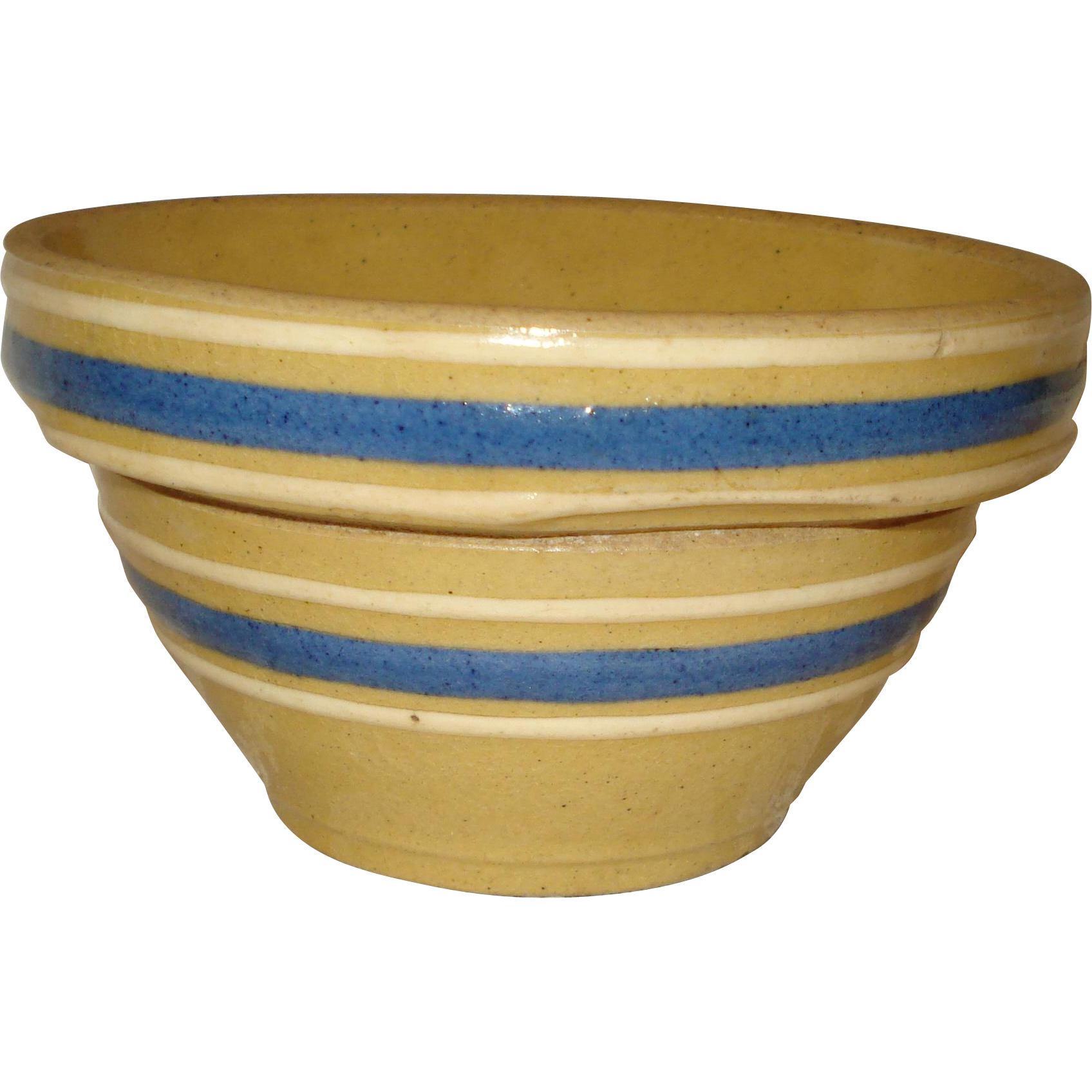"Small 4"" Stoneware Bowl with Stripe"
