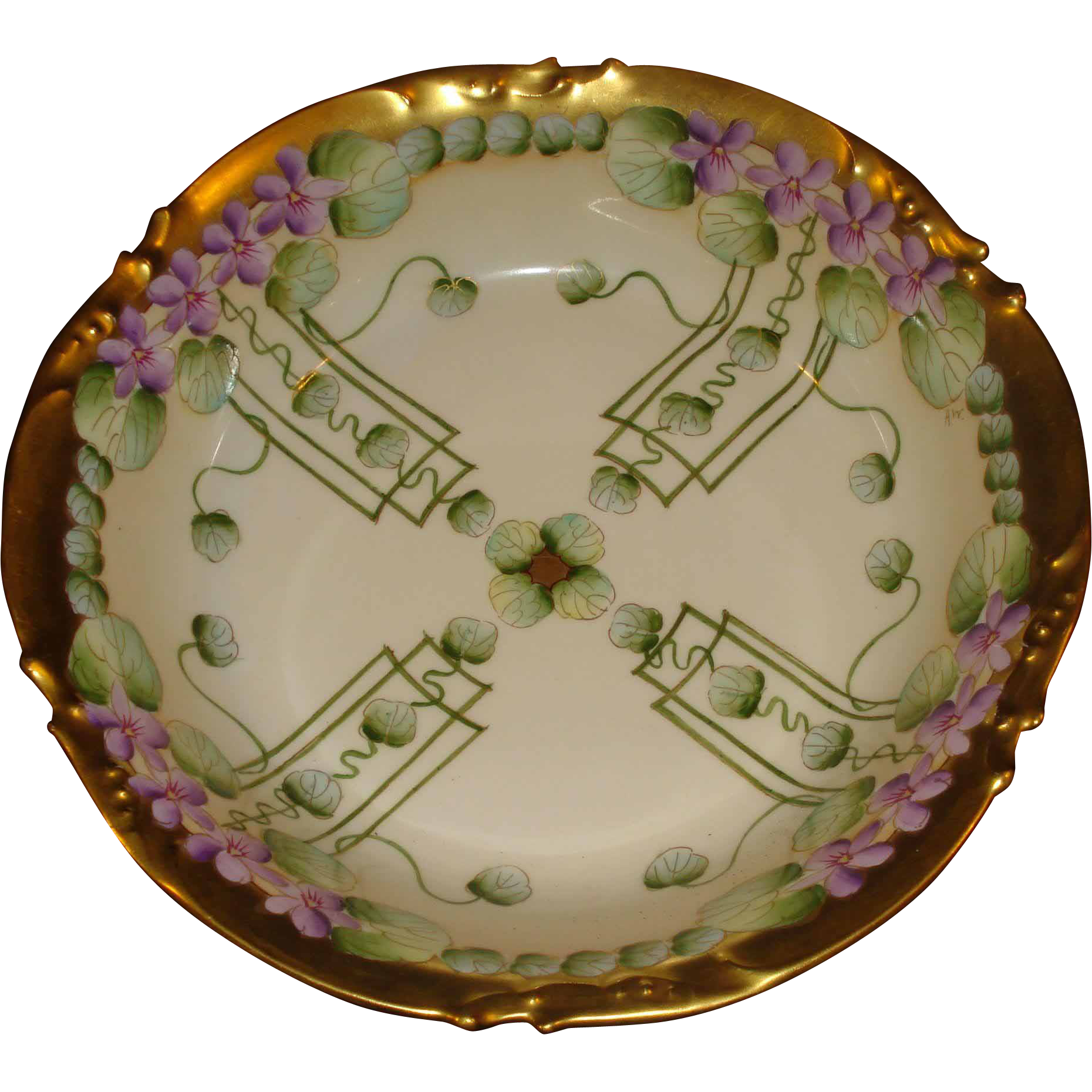 Hand Painted Pickard China Bowl Violets Limoges