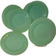 Set of Six Jadite Restaurant Ware Salad Plates
