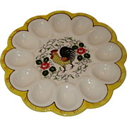 Py Rooster Roses Egg Plate