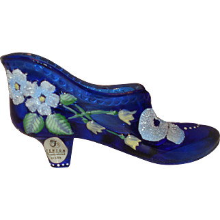 Fenton Glass Shoe Cobalt Frit Decorated