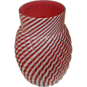 Cranberry Opalescent Glass Reverse Swirl Vase