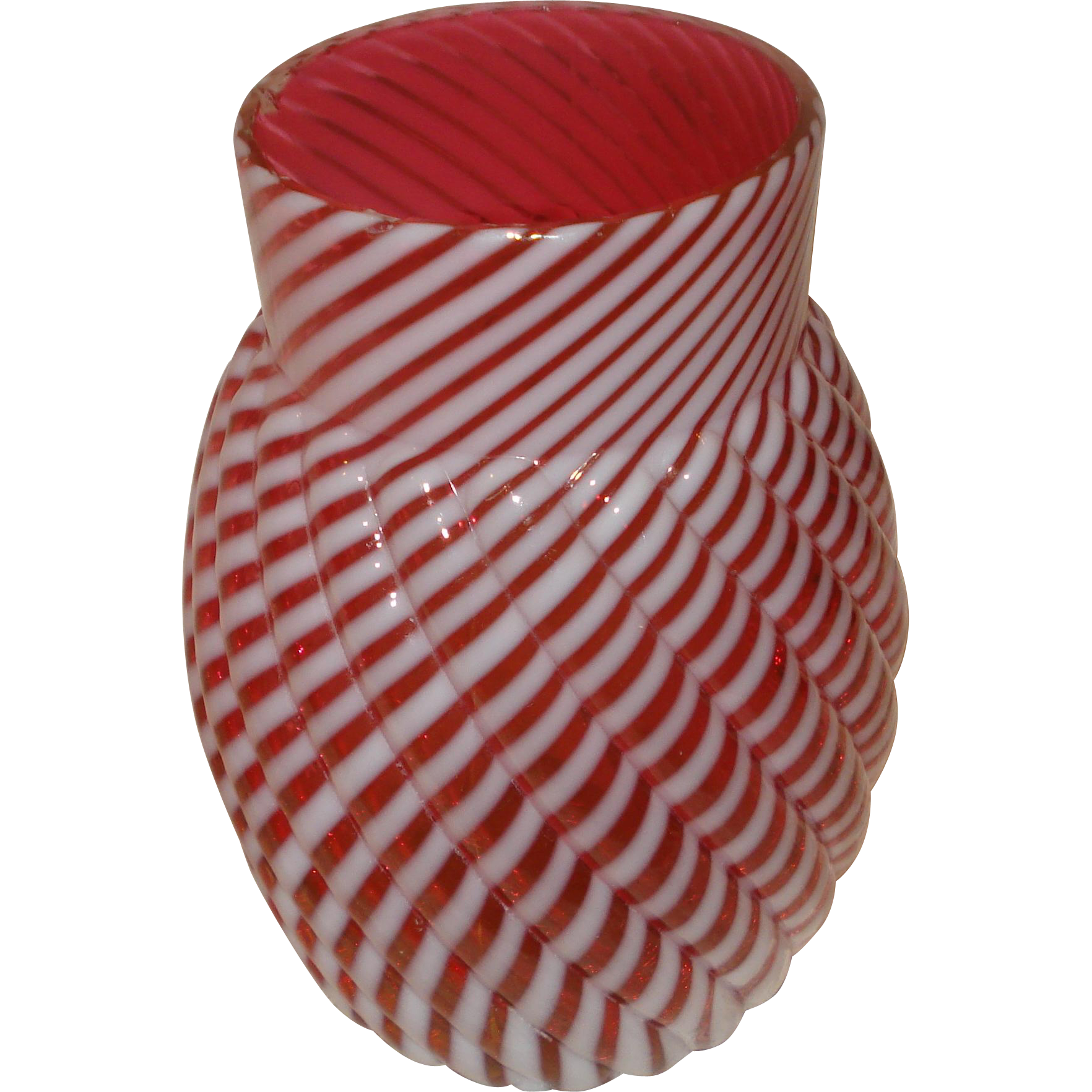 Fenton Cranberry Swirl Glass Vase