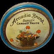 Vintage Arcadia Candied Fruit Tin