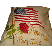 Vintage Patriotic Embroidered Flag Pillow