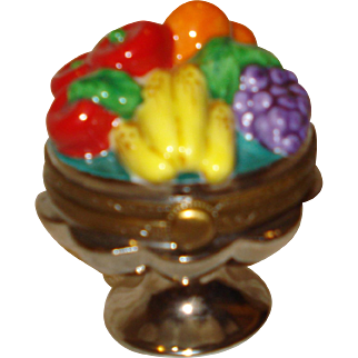 Limoges Porcelain Trinket Box with Fruit