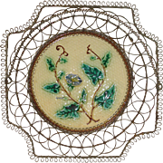 Majolica Pottery Plate with Wire Basket Frame