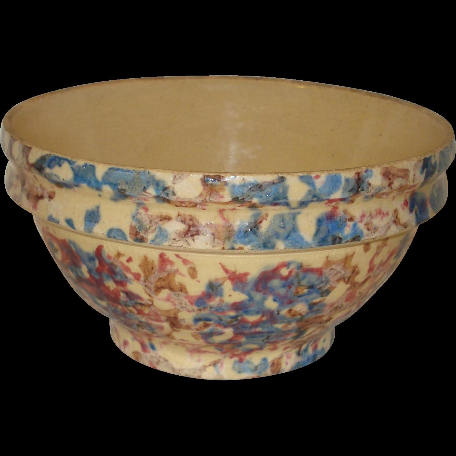 Early Spongeware Spatterware Stoneware Bowl