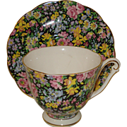 Queen Anne Chintz Porcelain Cup & Saucer