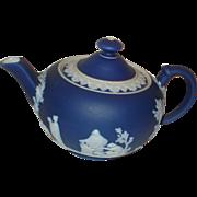 Vintage Cobalt Miniature Teapot Wedgwood Jasperware