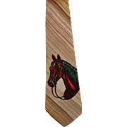 Vintage Men's Hand Painted Necktie with Horse