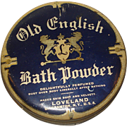 Vintage Old English Bath Powder Tin Binghamton, NY