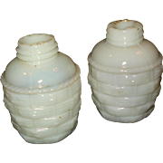 EAPG Milk Glass Salt Pepper Shakers Basket weave Coudersport
