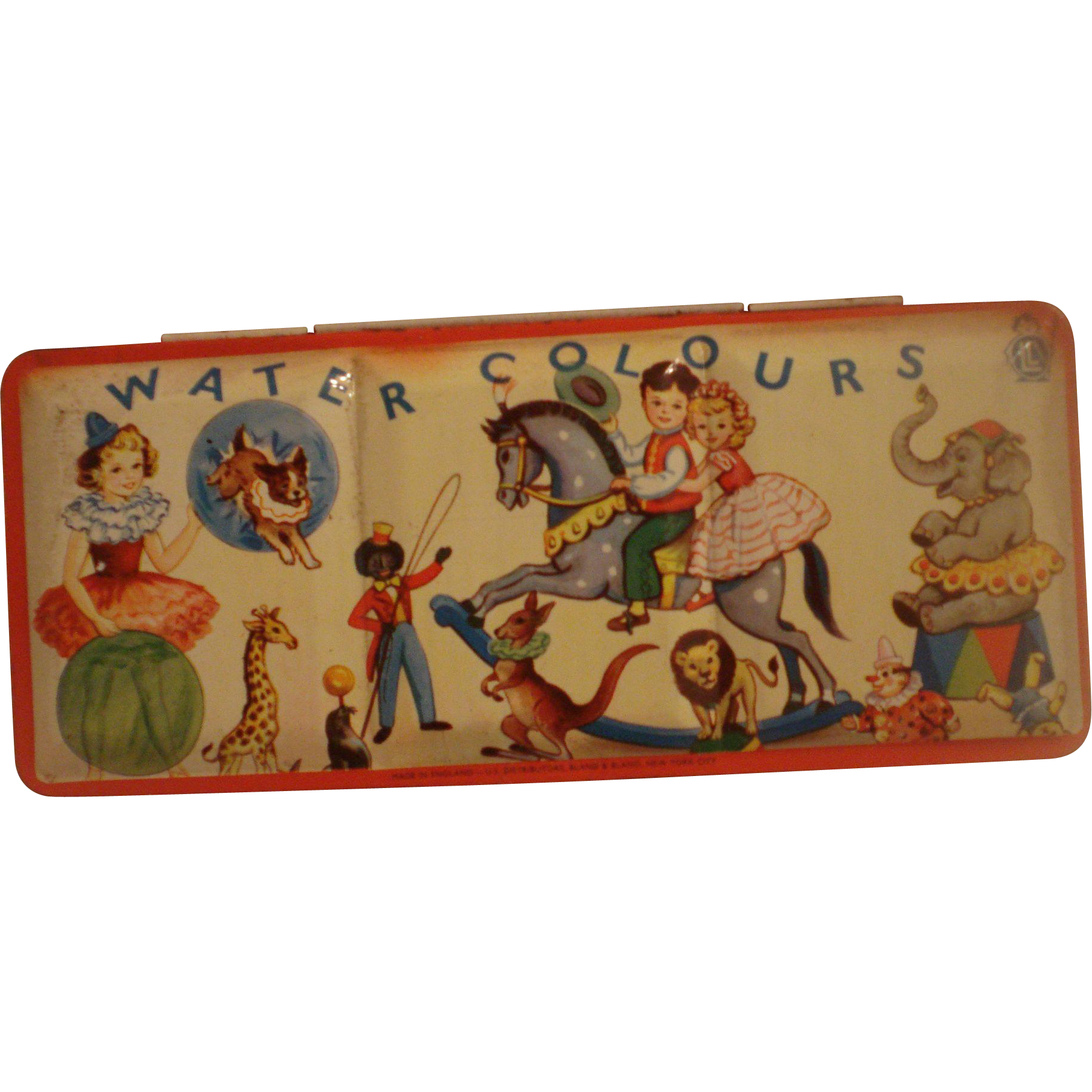 Vintage Unused Tin Paint Set Circus Theme