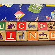 1940s The Embossing Company Wooden Blocks in Box