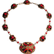 1920s Signed Czech Deco Red Art Glass Asian Necklace