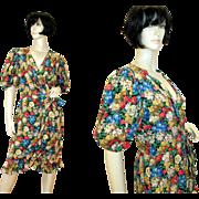 80s Albert Nipon Silk Floral Dress, Bergdorf Goodman S/M