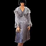 Elizabeth Cannon Couture Silver Fluttery Silk Bespoke Dress M