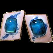60s Kay Denning Blue White Glass Enamel Copper Earrings