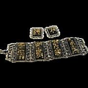 1950s Unsigned Selro Lucite Bracelet Earrings Black Gold
