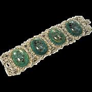 Vintage Wide Green Lucite Flower Bracelet, Unsigned Selro