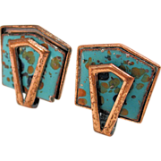 1950s Matisse Speckled Turquoise Enamel Copper Clip Earrings Signed
