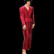 1970s Wine Satin Peplum Dress Long Evening Gown S/M