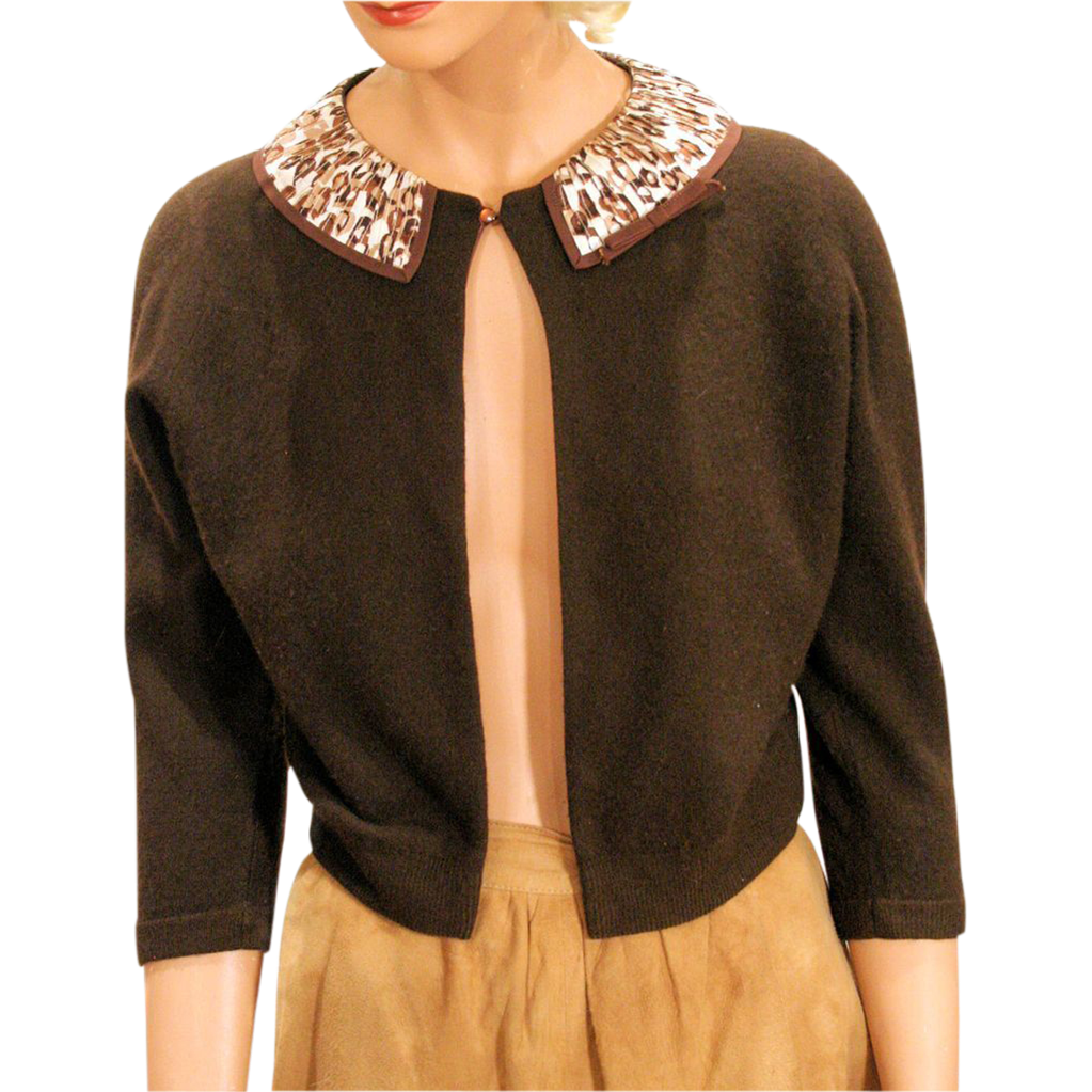 1950s Brown Cashmere Cardigan Sweater with Leopard Print Collar ...
